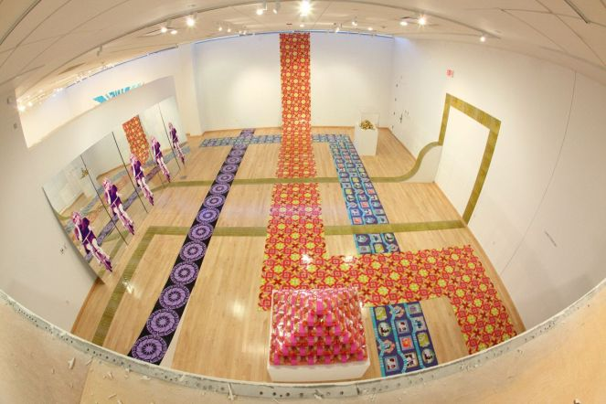 Gliztianers (installation shot with fisheye lense), room dimensions 35' x 40', mixed media, 2011.
