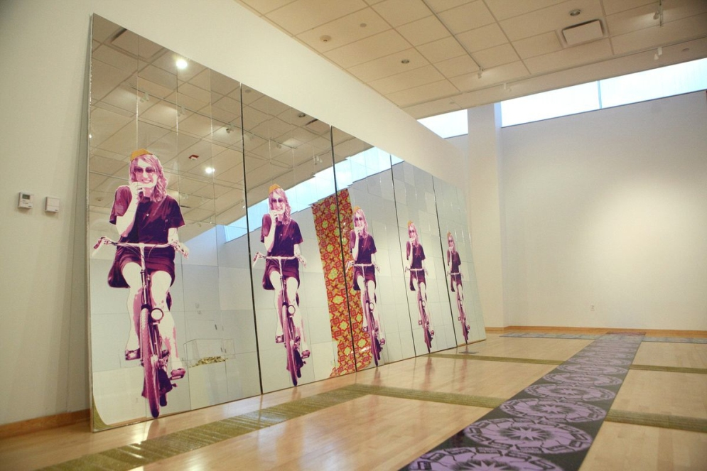 "Yarmulke Girl, Logo Tile, and Glitter Tile, 8' x 20' x 2"", mixed media: screenprints on mirror, foam, wood, screenprints on linoleum, and glitter, 2011."