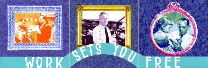 "Work Sets You Free (Detail), screenprint on linoleum tile, 12"" x 36"", 2010."
