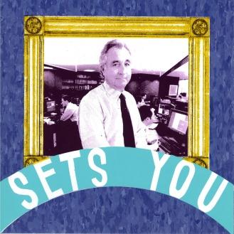 "Work Sets You Free (Bernie Madoff Detail), screenprint on linoleum tile, 12"" x 12"", 2010."