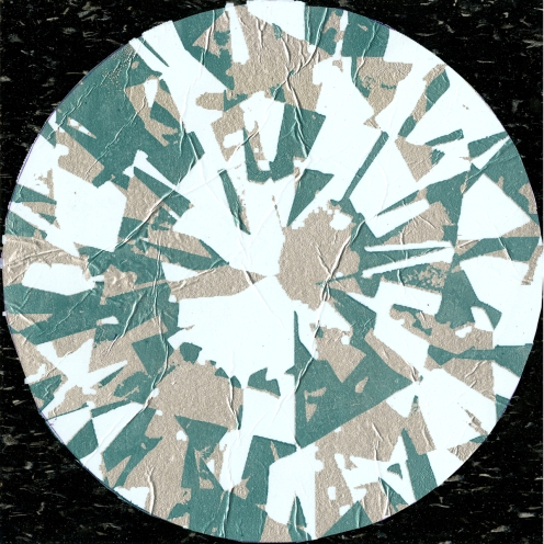 Diamond Tile, screenprint on linoleum tile with aluminu foil, 2012.