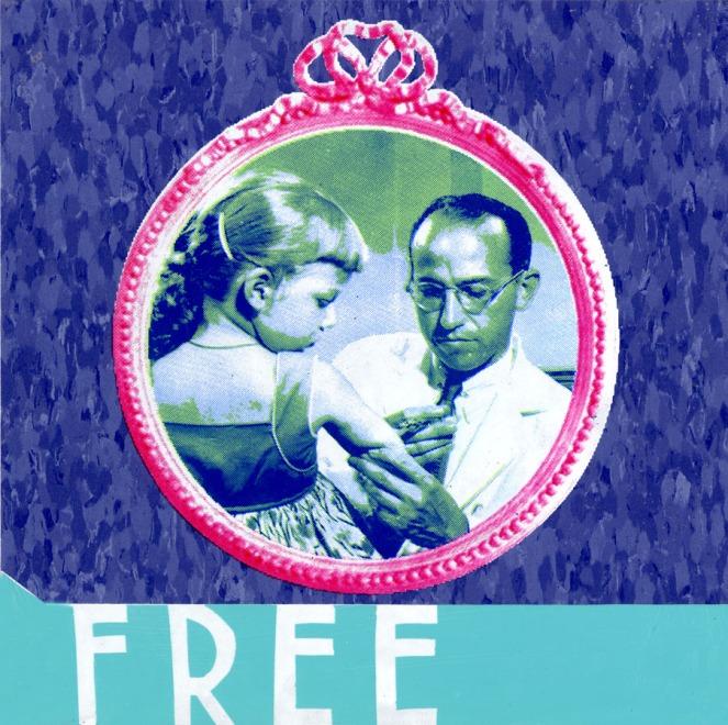 "Work Sets You Free (Jonas Salk Detail), screenprint on linoleum tile, 12"" x 12"", 2010."