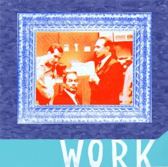 "Work Sets You Free (Robert Shapiro Detail), screenprint on linoleum tile, 12"" x 12"", 2010."