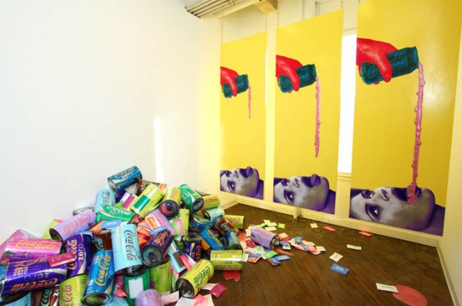 Tasty (installation shot), room dimensions 10' x 23' x 15', mixed media, 2012. Photo by David Mielcarek.