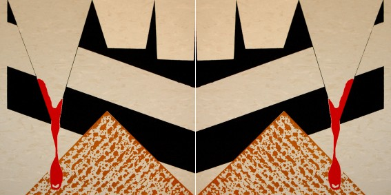 "Blood Matzoh, dyptich 12"" x 24"", screenprint on linoleum, 2012."