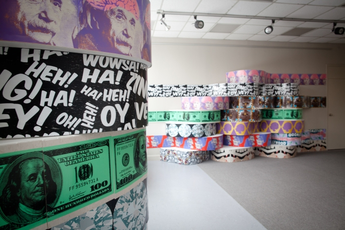 Fun Guys, mixed media, dimensions variable (here 7' x 25' x 20'), 2013.