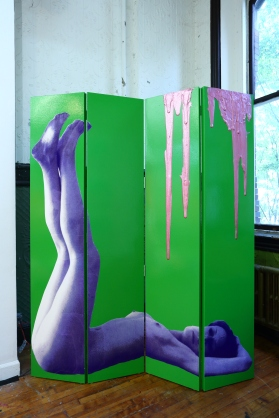 "Tastier Screen, 72"" x 108"" x 3"", mixed media: wood, paint, screenprints on paper, and polyarylic, 2013."