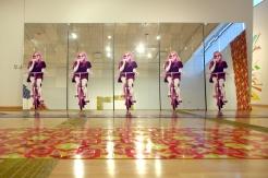 Yarmulke Girl, 8′ x 20′ x 2″, mixed media: screenprints on mirror, foam, and wood, 2011. Glitzianers, MFA thesis show, Temple Contemporary, Philadelphia, PA.