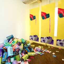 Tasty (installation shot), room dimensions 10′ x 23′ x 15′, mixed media: wood, paint, sceenprints, paper, Tyvek, metalized laminate, mica powder, acrylic paint pours, cardboard, polyester fill, and brass chains, 2012. Tasty, NAPOLEON, Philadelphia, PA.