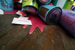 Coke Zero Pile (detail shot), dimensions variable (here 3' x 3' x 2'), mixed media: screenprints on metalized laminate, cardboard, Tyvek, and acrylic paint pours, 2012. Tasty, NAPOLEON, Philadelphia, PA.