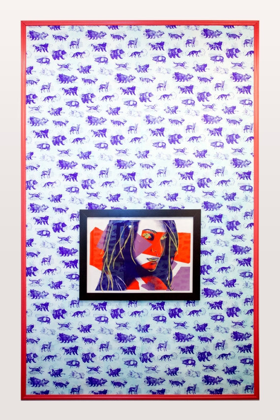 "Animal Toile Wallpaper, 60"" x 94"" panels, screenprint on Tyvek, acrylic wash, paint, and wooden molding, 2014. Natalie, 28"" x 20"", screenprint on paper, framed, 2014. In collaboration with graphic designer Bernardo Margulis. Gay Jewish, or Both, NAPOLEON, Philadelphia, PA."