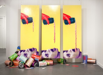 Tasty (installation shot), room dimensions 10′ x 23′ x 15′, mixed media: wood, paint, sceenprints, paper, Tyvek, metalized laminate, mica powder, acrylic paint pours, cardboard, polyester fill, and brass chains, 2012. Tastier, Good Children, New Orleans, LA (2017).