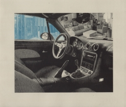 "Louisiana State University, Digital Printmaking. 2-plate photolithograph Jessica Le, BFA, digital art major, 11"" x 13"", photolitho, 2016. Like so many students I met when I first arrived at LSU, Jessica had been affected by the flood. This print was inspired by her boyfriend who loved his car, but was more or less living out of it because his family home was ruined in the floor. In one window you see the actual state of the house, taken down to the studs. In the windshield you see the idealized house he wished for."
