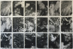 """Tyler School of Art, Printmaking Workshop. Independent Projects: Propose your own course of study and outline what you will exhibit at each critique. Karly Avrach, BFA, double-major photography & printmaking, 48"""" x 72"""", photographs made with films from a litho-stone, 2015. Karly had been exploring the intersection of printmaking and photography. In this project, she painted a litho-stone with a solvent-based tusche, etched it, printed it onto a mylar, cut the films into sections, and then used the enlarger in photography to expose the film onto matte photo paper. The result is a negative version of the litho-stone drawing, but through the translation, the image begins to look very topographical."""