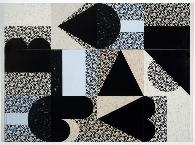 "Heave, 48"" x 36"", screenprints on compositive vinyl tile and wood panel, 2019."