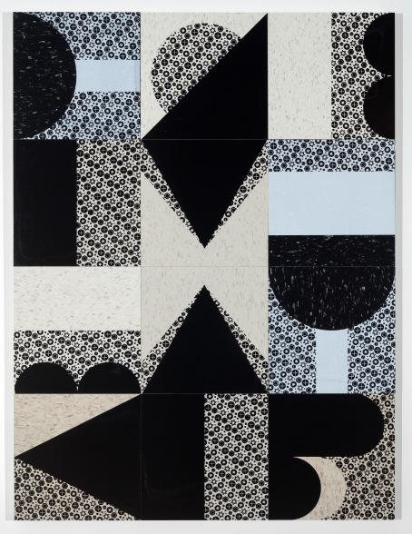 "Clutch, 36"" x 48"", screenprints on compositive vinyl tile and wood panel, 2019."