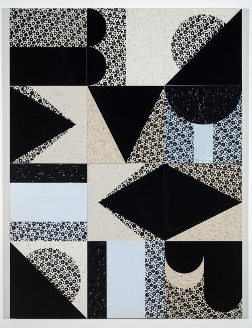 "Lug, 36"" x 38"", screenprints on composite vinyl tile, wood panel, 2019."