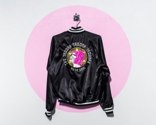 "Yaddah Jacket (individual), 52"" x 48"", Embroidery on nylon, 2018."